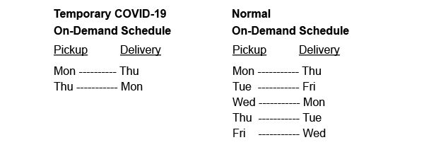 Swansons Pickup & Delivery schedule.